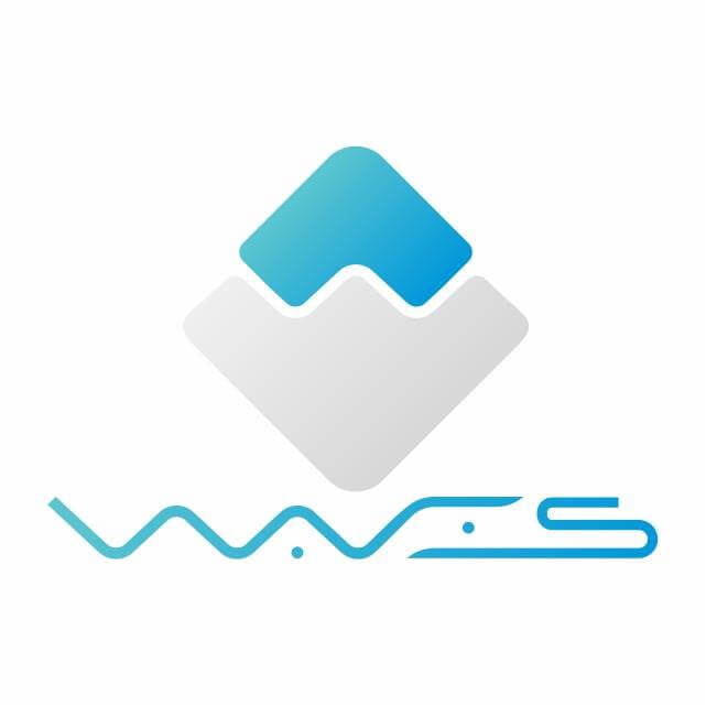 main white logo for Waves coin and this Bitcoin vs Waves comparison
